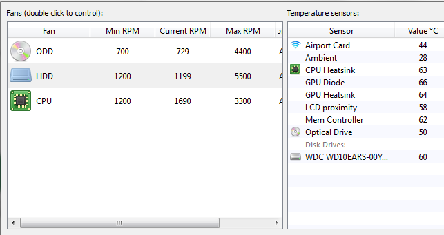 HDD temperature BootCamp iMac
